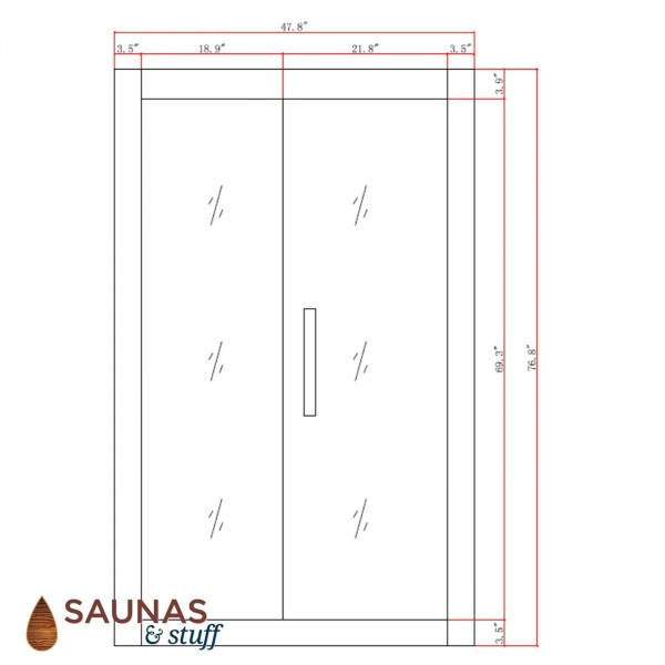 2 Person (AG) Ultra Low EMF Infrared Sauna - Dimensions