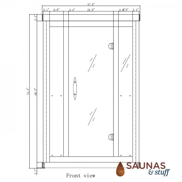 2 Person Ultra-Low-EMF Infrared Sauna - Dimensions