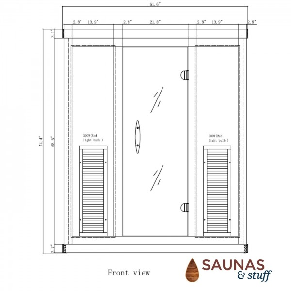 3 Person Ultra-Low-EMF Infrared Sauna - Dimensions