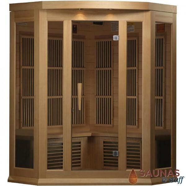 3 Person Cedar (MH) Corner Ultra-Low-EMF Carbon Fiber Infrared Sauna