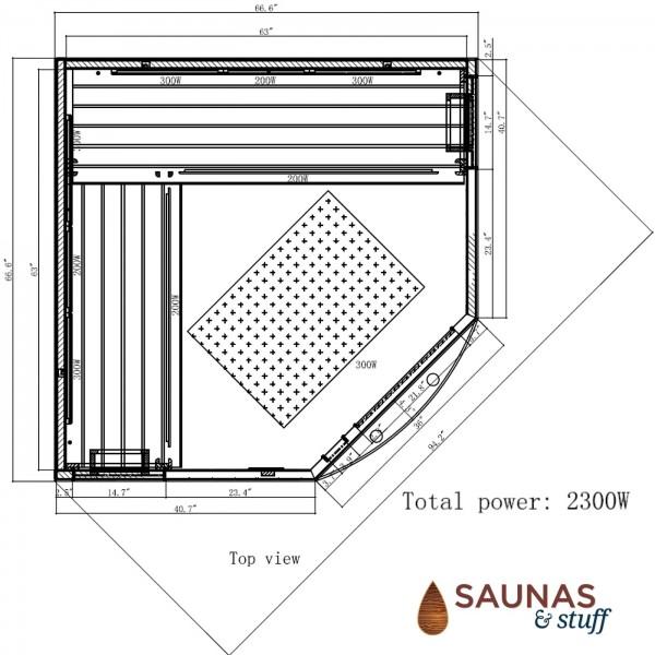 4-5 Person Corner Ultra-Low-EMF Carbon Fiber - Dimensions