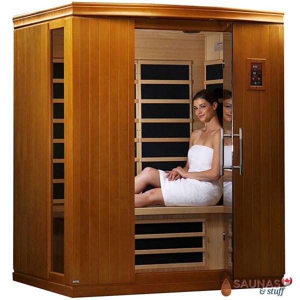 3 Person Hemlock Infrared Sauna, Carbon Fiber Heaters